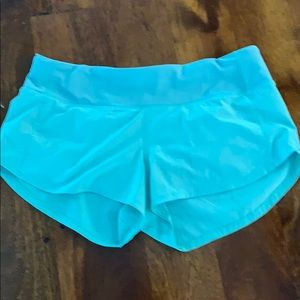 Aqua Lululemon ultra run shorts